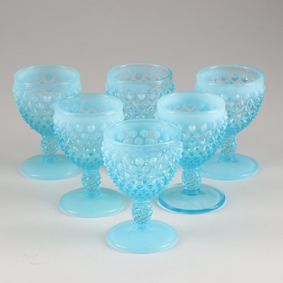 "Fenton ""Hobnail Blue Opalescent"" Wine Goblets, Mid 20th Century"