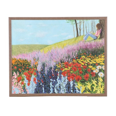 Barbara Smith Oil Painting of a Field of Flowers
