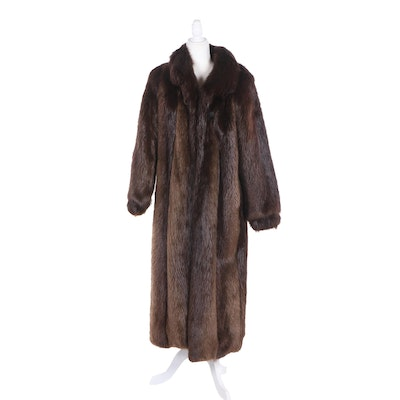 Women's Beaver Fur Coat with Tapered Cuffs