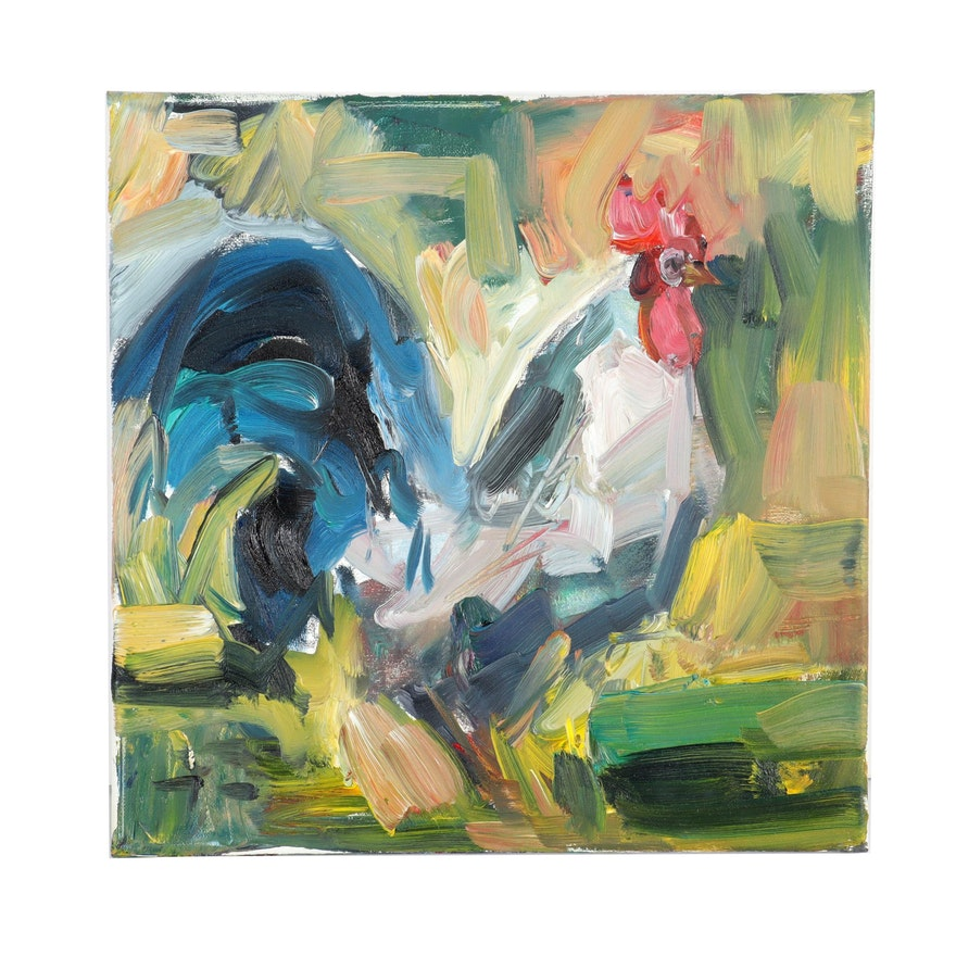 """Jose Trujillo Oil Painting """"The Rooster"""""""
