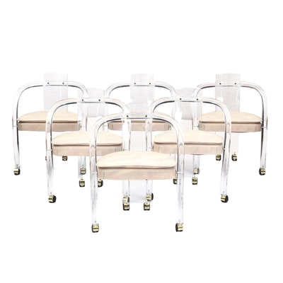 Six Acrylic Framed Arm Chairs on Casters, Mid-20th Century