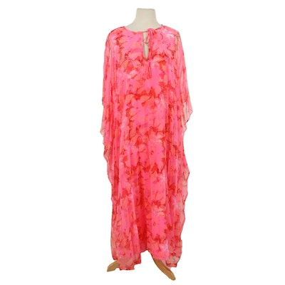The Lilly by Lilly Pulitzer Pink Floral Chiffon Maxi Kaftan, 1960s-70s Vintage