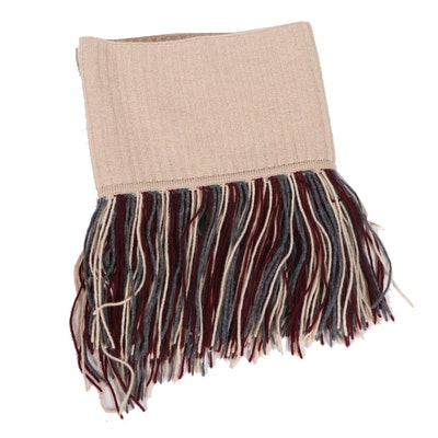 Burberry London Cashmere Scarf with Fringe