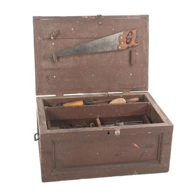 Chest with Assorted Hand Tools Including Wrenches, Saw, Bits and more
