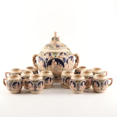 German Rumtopf Castle Stoneware Glühwein Punch Bowl Set