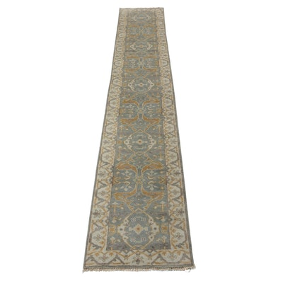 2'8 x 15'10 Hand-Knotted Indo-Persian Oushak Carpet Runner