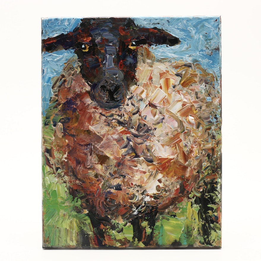 Elle Raines Oil Painting Sheep Portrait