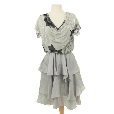 Hanae Mori Beaded Rose Chiffon Draped Cocktail Dress with Tiered Skirt, Vintage