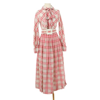 Romantica by Victor Costa Pink Plaid Maxi Dress with Accent Belt, 1970s Vintage