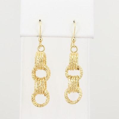 14K Yellow Gold Dangle Hoop Earrings