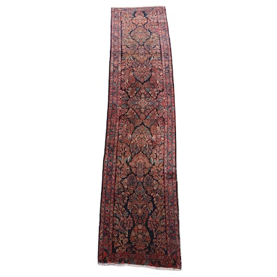 Hand-Knotted Persian Sarouk Wool Carpet Runner