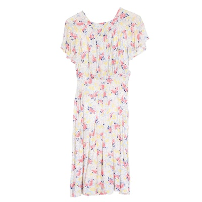 Floral Printed Rayon Day Dress, 1940s Vintage