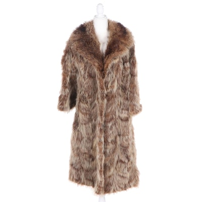 Kramers Tanuki Fur Coat with Shawl Collar, Vintage