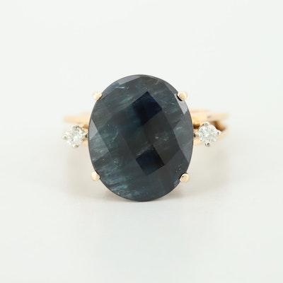 14K Yellow Gold 10.69 CT Sapphire and Diamond Ring