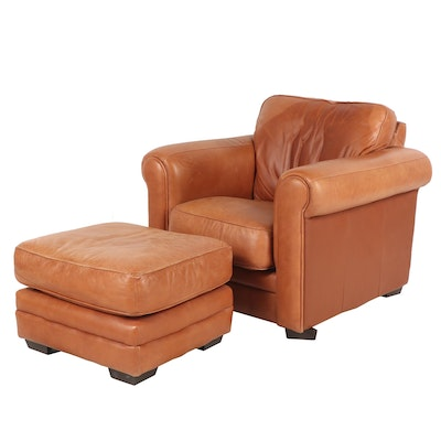 Contemporary Light Brown Leather Upholstered Armchair and Ottoman