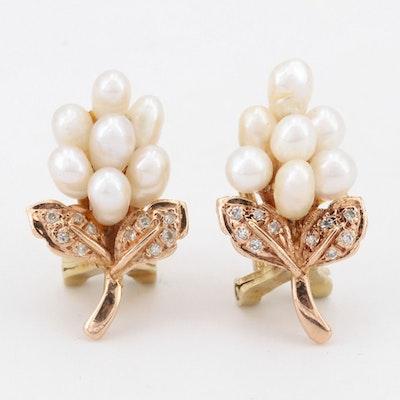 14K Yellow Gold Fresh Water Pearl and Diamond Earrings