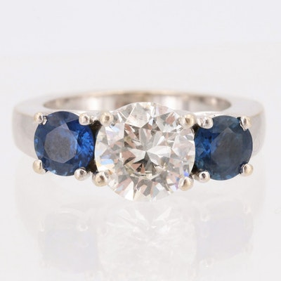 14K White Gold 2.60 CT Diamond and 2.10 CTW Ceylon Sapphire Ring