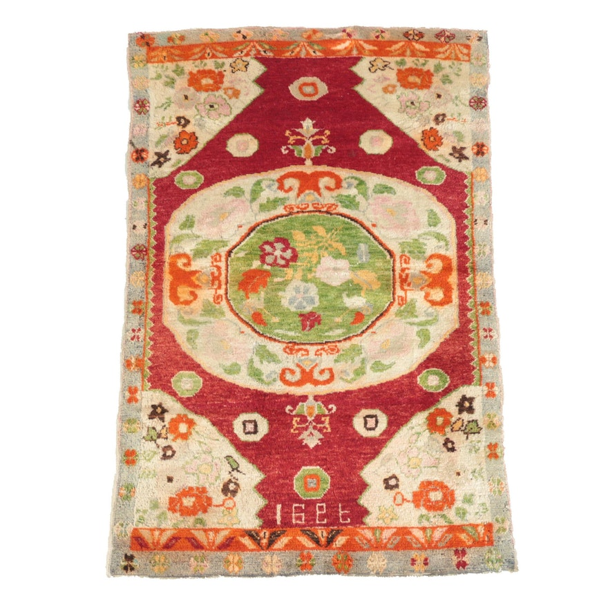 Hand-Knotted and Inscribed Turkish Wool Area Rug
