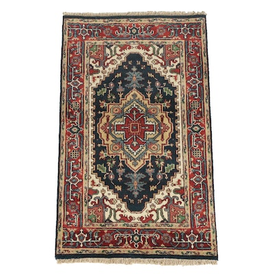 Hand-Knotted Indo-Persian Heriz Wool Area Rug