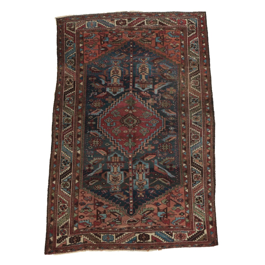 Hand-Knotted Persian Karaja Wool Area Rug