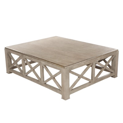 Contemporary Industrial Style Grey Washed Finish Wooden Coffee Table