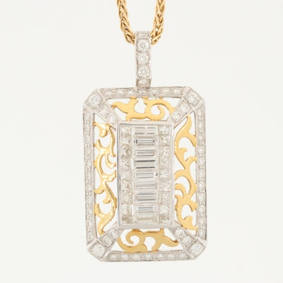 18K White and Yellow Gold 3.49 CTW Diamond Pendant on 14K Gold Chain Necklace