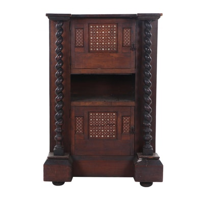 Spanish Baroque Style Mixed Wood Cabinet with Moorish Bone Inlay, 19th Century