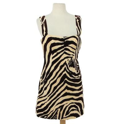 Dolce  & Gabbana Zebra Stripe Velour Sleeveless Cocktail Dress