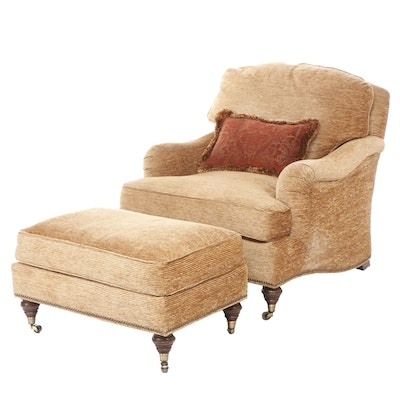 Contemporary Marsha Jones Golden-Brown Upholstered Armchair with Ottoman