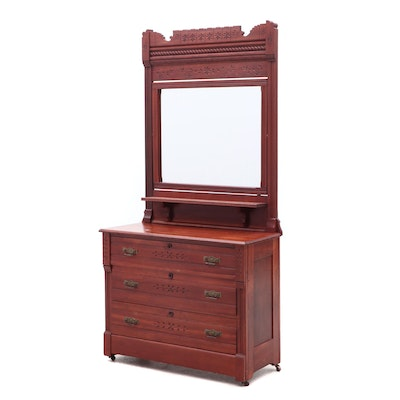 Victorian, Eastlake Style Cherry Chest of Drawers with Mirror, Circa 1875