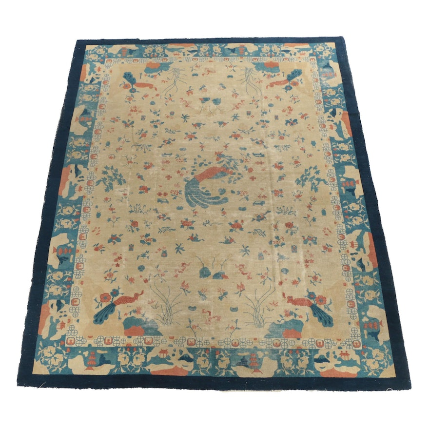 Hand-Knotted Art Deco Chinese Peking Wool Area Rug