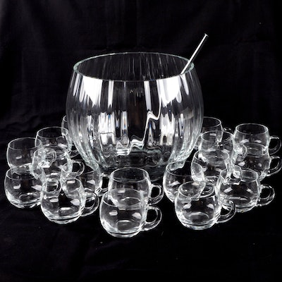 Glass Punch Bowl with Cups and Ladle