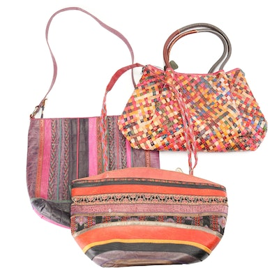 Multicolor Embossed Leather Patchwork and Woven Shoulder Bags Featuring Sharif