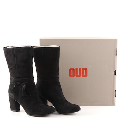 OUO Holzer Black Suede Chunky Heel Boots with Side Bow