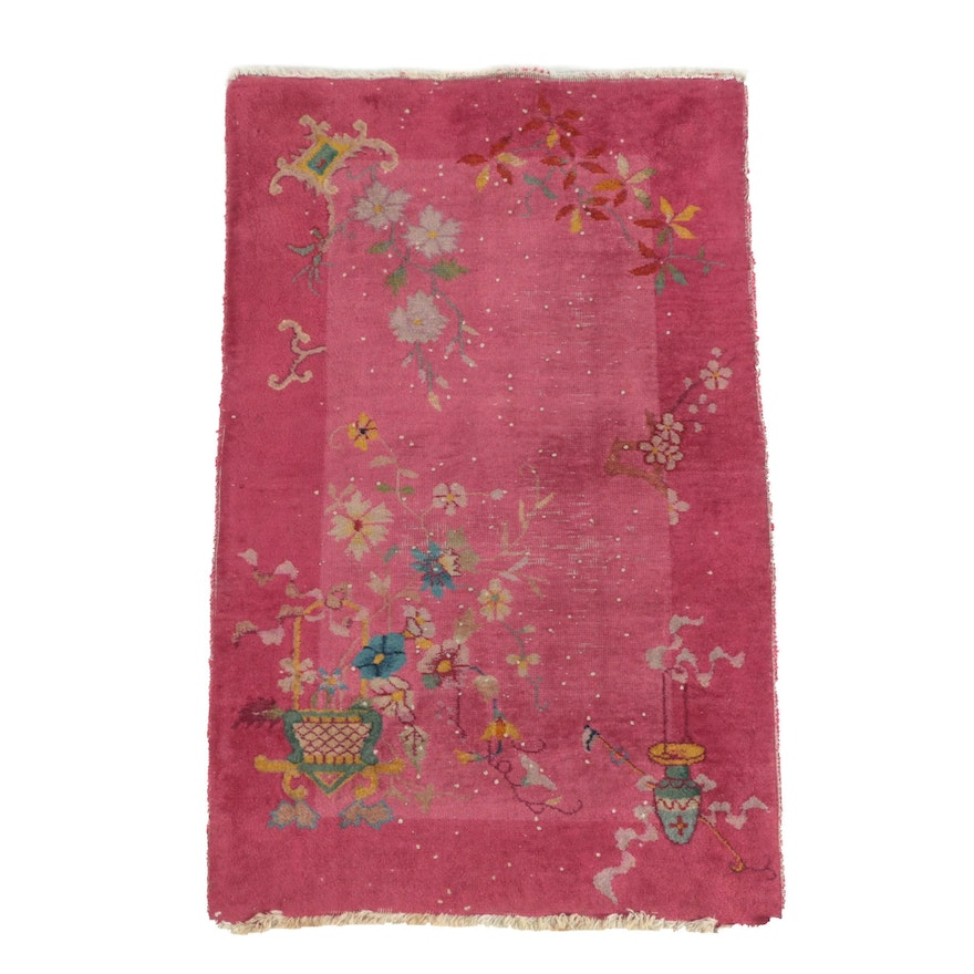 Hand-Knotted Chinese Art Deco Nichols Style Wool Area Rug, Early 20th Century