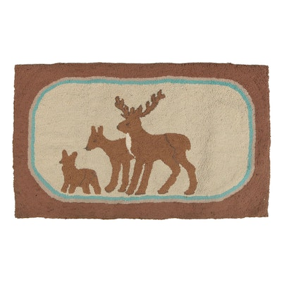 American Hand-Hooked Pictorial Cotton Accent Rug
