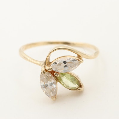 10K Yellow Gold Peridot and Cubic Zirconia Leaf Motif Ring