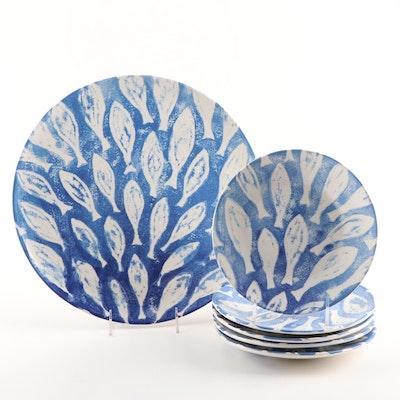 "Vietri ""School Of Fish"" Ceramic Salad Plates and Cake Plate"
