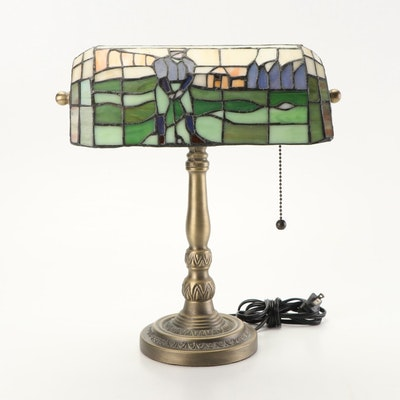 Stained Glass Bankers Lamp with Golfer Motif