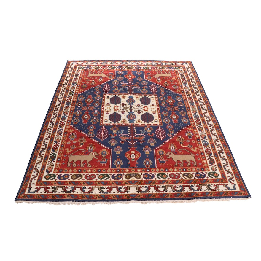 Hand-Knotted Indo-Persian Shiraz Pictorial Wool Rug