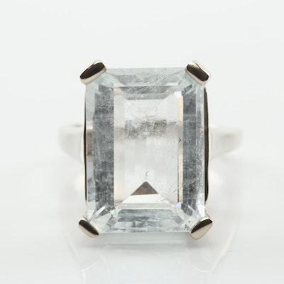 14K White Gold 10.46 CT Aquamarine Ring