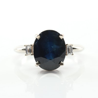 18K White Gold 5.83 CT Sapphire and Diamond Ring
