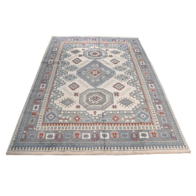 Hand-Knotted Indian Kazak Wool Room Sized Rug