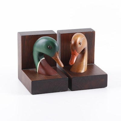 Carved Stained Wood Mallard Duck Bookends, A Pair
