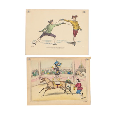 Mid 20th Century Figural Hand-Colored Lithographs