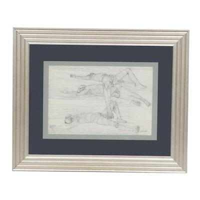 John Tuska Ink Drawing of Prone Figures