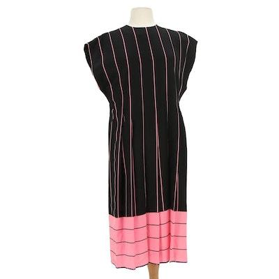 Pauline Trigère Silk Dress in Pink and Black Stripes, 1980s Vintage