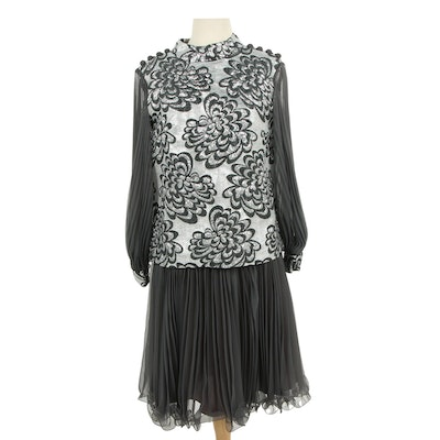 Silver Lamé and Black Floral Chiffon Dress with Drop Waist Pleat Skirt, 1960s