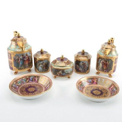 Royal Vienna Style Porcelain Coffee Set, Late 19th Century