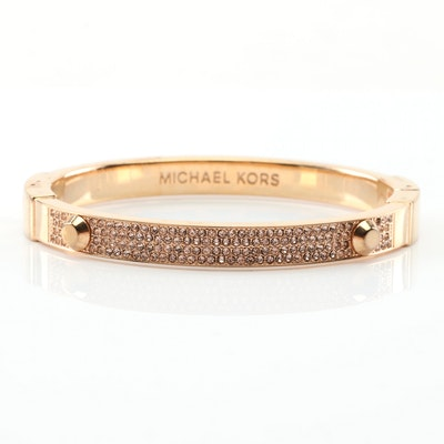 Michael Kors Gold Tone Crystal Bangle Bracelet